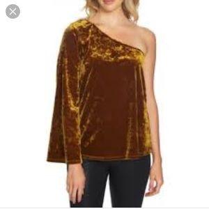 1. State Gold Velvet One-Shoulder Blouse